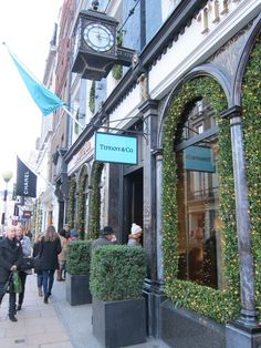 Outside Tiffany and Co. on Old Bond Street, Mayfair, London. Fashionable Bond Street is Europe's most expensive retail location, which runs between Oxford Street and Piccadilly in London. The southern section is known as Old Bond Street.