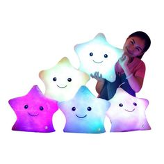 LED STAR PILLOW Light Up Cushion Sofa Bed Bedroom Plush Night Glow Kids 2N Home, Furniture & DIY Cushions