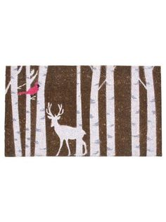 "30"" x 18"" Coir Fiber Brown Deer & Birch Trees Anti-slip Front Door Mat Doormat by American Chateau. $26.99. Size: 0.2"" H x 11.3"" L x 6.6"" W. Made In India. Material: COIR FIBRE. Color: NATURAL. You get 1 Piece. Color: NATURAL; Material: COIR FIBRE; Size: 0 1/5"" H x 11 1/3"" L x 6 3/5"" W; You get 1 Piece; Made In India"