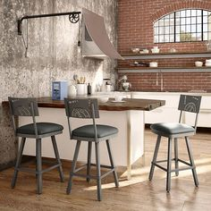 Amisco Wilson Grey Bar and Counter Stool with Grey Seat
