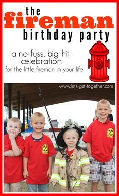 The Fireman Birthday Party from Let's Get Together- a really simple #birthdayparty for the little fireman in your life. Includes how to make these darling fireman t-shirts as a party favor. www.lets-get-together.com #firemansam #partiesforboys
