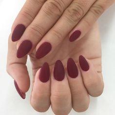 """Sculptured almonds  My fav fall color Malaga Wine by OPI @enameldiction"""