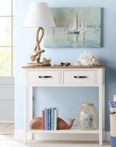 Shop this Look. Console table with coastal decor vignette. More ideas featured o… Shop this Look. Console table with coastal Coastal Bedrooms, Coastal Living Rooms, Coastal Cottage, Coastal Style, Coastal Farmhouse, Cottage Rugs, Modern Coastal, Coastal Homes, Shabby Chic Pink