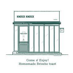 Choisy Stuido - Knock Knock Cafe, Seoul, South Korea graphic branding design cafe brand facade illustration menu bakery brunch green knock knockknock