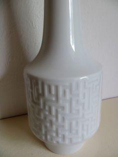 Mid Century white porcelain Op Art Vase by Heinirch Co, Selb Bavaria via Etsy