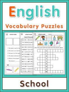 ESL puzzles school vocabulary. This set has 10 puzzles for ESL students to practice spelling, writing and memorization of English school vocabulary. I use them for review, homework and fast finishers. Full page answer keys are included.   What you will find in this set:  - write the words into the matching word boxes  - word search puzzle  - letter puzzle   - word puzzles  - logic puzzles