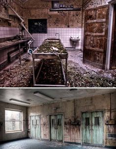 A military hospital, dropped, lost, ans forgotten in Cambridge, England. The top photo is the morgue, and the bottom are doors leading to operation rooms, and different hallways.