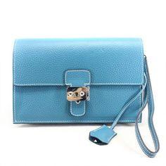 Hermes sac Jet Pochette Pochette in pelle Clemence Blue