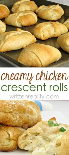 Chicken With Crescent Rolls: This chicken and cream cheese crescent roll recipe is delicious! It's an easy dinner idea that makes a great party food, too. Chicken Crescent Rolls, Cream Cheese Crescent Rolls, Crescent Roll Recipes, Crescent Dough, Cresent Roll Appetizers, Pilsbury Crescent Recipes, Lunch Recipes, Cooking Recipes, Chef Recipes