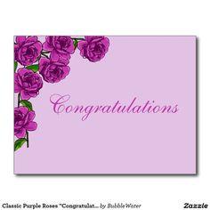 "Classic Purple Roses ""Congratulations"" Postcard"