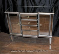 Canonbury - Mirrored Chests and Bedside Cabinets - Mirrored Furniture - Canonbury Antiques Mirrored Furniture, Art Deco Furniture, Mirrored Coffee Tables, Pedestal Desk, Art Deco Mirror, Light And Space, Mirror Cabinets, Wood Trim, Chest Of Drawers