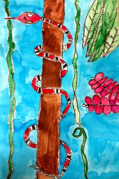 Art: Expression of Imagination: Second Grade Snakes Learn Watercolor Painting, Kids Watercolor, 2nd Grade Art, Second Grade, Kids Art Class, Art For Kids, Jungle Art Projects, Snake Art, Ecole Art