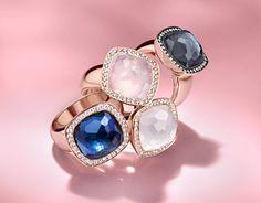 Milano Due multi-gemstone rings by Tirisi Jewelry