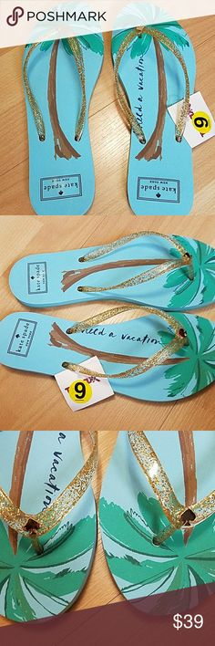 NWT Kate Spade I need a vacation flip flops NEW Kate Spade flip flops size 9. I need a vacation wording with palm tree graphic.  Goldtone Kate Spade symbol with gold glittery straps. kate spade Shoes Sandals