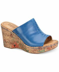 b.o.c. by Born Women's Starlet Platform Wedge Sandals leather aquari blue, saddle 3.5h (48.99) NA