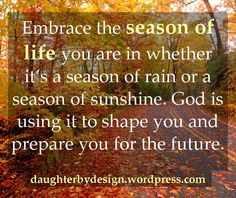 Embrace the season of life you are in...