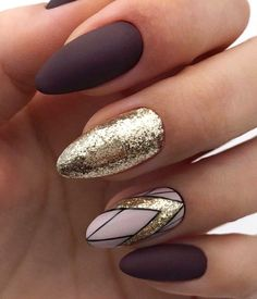 "If you're unfamiliar with nail trends and you hear the words ""coffin nails,"" what comes to mind? It's not nails with coffins drawn on them. It's long nails with a square tip, and the look has. Dark Nails, Gold Nails, Matte Nails, Fun Nails, Acrylic Nails, Rose Gold Glitter Nails, Coffin Nails, Dark Nail Art, Brown Nail Art"