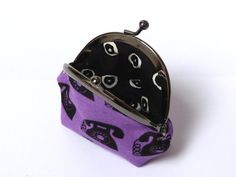 Purple and black retro telephone fabric coin by cheekyleopard
