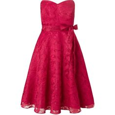 Ariella Cami Mini Dress with Bow Belt (£76) ❤ liked on Polyvore featuring dresses, cherry, clearance, mini dress, strapless prom dresses, pink prom dresses, floral dress and short pink dress