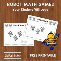 Need some simple math games? Our free Robot themed games will help Kinders with number recognition, counting and number logic.