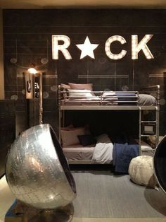 A rock star boys bedroom, super stylish for young boys that will grow with them into their teenage years.
