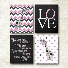 Set of four baby girl art prints, nursery decor, You are my sunshine, giraffe (K35) | Melissa Fleming Designs