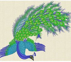 Peacock embroiderydesign. Animals embroidery design.