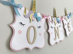 Sweet unicorn highchair banner. #etsy #unicorn #unicornparty #unicorndecor #poppiesandpapershop
