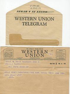 All sizes   Western Union Telegram From U.S, Navy Sailor, WWII aged vintage ephemera