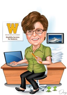 The female is smiling with teeth showing and sitting in her office chair. Her left hand is holding an orange pencil. There is a picture of a cruise ship on the wall, and 2 frogs on the floor at her feet.