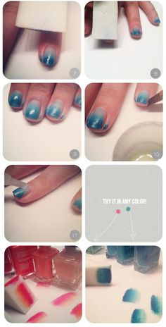 Ombre Colored Nails: 3-4 Gradient nail Polish Colors, Clear Top Coat, Triangle Makeup Sponge, Cup of Water, Piece of Paper, Paint Brush and Nail Polish Remover