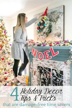 Colorful Christmas Playroom | 4 Christmas decorating tricks for hanging garlands, wreaths, banners, art, lights, and more without damaging furniture or walls. #christmas #playroom