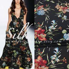 Black Floral Silk. Repeat pattern. Beautiful drape. smooth, soft, light, non-sheer. 700+ Pure Silk haute couture fabric. Ship worldwide.  ▲▼