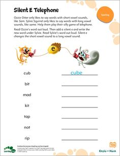 "LeapFrog Printable: Silent E Telephone- This printable helps your child unlock the secret of the ""silent e,"" a key to good spelling."