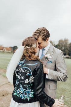 Bride wears a hand painted 'something blue' leather jacket. Rebecca Carpenter, Special something blue ideas for your wedding day // Extra Special Touch Blue Bridal Shoes, Bridal Traditions, Something Blue Bridal, Wedding Jacket, Blue Wedding Dresses, Color Azul, Wedding Inspiration, Wedding Ideas, Wedding Blog