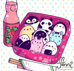 Bento Buddies yum yum . . . #bento #ramune #japaneselunch #onigiri #jenniilustrations #jennilustrations