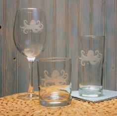 Octopus Double Old Fashioned Glasses - Set of 4