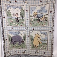 Classic Winnie The Pooh Woven Jacquard Fringe Throw Blanket Piglet Eeyore Winnie The Pooh Classic, Winnie The Pooh Friends, Eeyore, Tigger, Holiday Gifts, Christmas Gifts, Stocking Stuffers, Blanket, Linens