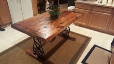 The classic farmhouse style top with a twist on the base. We took an old Singer sewing machine apart, and then reassembled it into a base. Dining Table Legs, Dining Set, Singer Table, Chicago Furniture, Old Sewing Machines, Upcycled Furniture, Barn Wood, Wood Projects, House Design