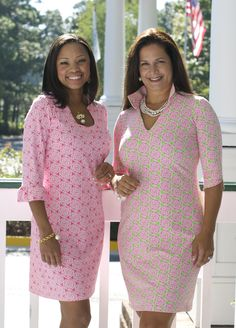 Katherine Way is pretty in pink! Our signature medallion pattern shown on our Naples and NOLA dresses. Visit our website to find a store near you.