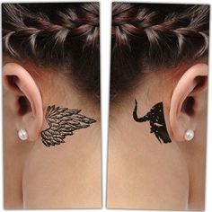 Woman with Behind-the-ear Angel and Demon Tattoo #BehindTheEarTattooIdeas