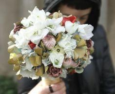 BORNAY, white, dusty pink, pale blue bouquet
