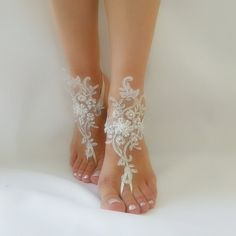 ivory Barefoot silver frame , french lace sandals, wedding anklet, Beach wedding barefoot sandals, embroidered sandals.