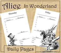 Alice in Wonderland Daily Planning Pages! for your personal or academic planner/organizer!