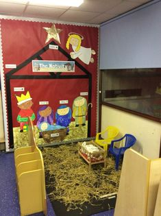 'The Nativity' display, role play area EYFS Preschool Christmas, Christmas Nativity, Christmas Activities, Christmas Themes, Kids Christmas, Christmas Crafts, Festive Crafts, Christmas Printables, Eyfs Activities