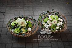 Baskets with flower arrangements - Funeral decoration | Kwiaciarnia POKUSA - Kielce / Florist TEMPTATION - Kielce