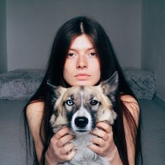 """gyravlvnebe: """"Me and my dog Pandora, adopted from the street © Sergei Sarakhanov """" Girl Photography, Animal Photography, Look At My, Me And My Dog, Ideal Beauty, Aesthetic People, Cute Cat Gif, Creative Pictures, Photo Art"""