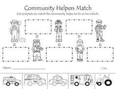 Kinder: Community helpers matching activity allows students to match the vehicle with the community helper that would drive it. Community Helpers Kindergarten, Community Helpers Activities, Kindergarten Social Studies, School Community, Classroom Community, Teaching Social Studies, Teaching Kindergarten, Preschool Themes, Preschool Lessons