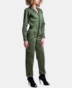 Artistix Cotton Zip-Up Flightsuit - Green XS Cotton Jumpsuit, Denim Jumpsuit, Playsuit Romper, Catsuit, Street Chic, Leggings Are Not Pants, Tulum, Jumpers, Jumpsuits For Women