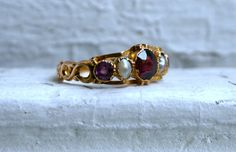 Wonderful Antique 18K Yellow Gold Pearl and Garnet Ring by #GoldAdore, $595.00